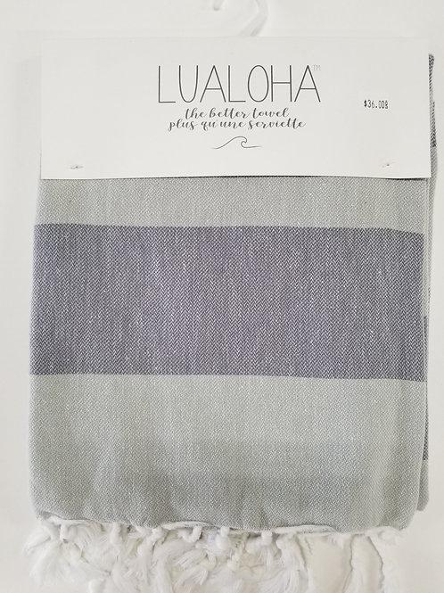 Lualoha Towel Grey Stripe