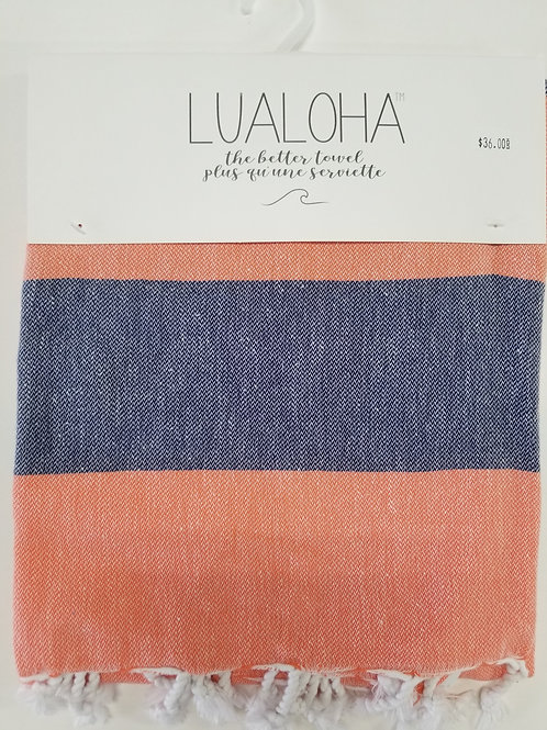 Lualoha Towel Coral and Blue Stripe