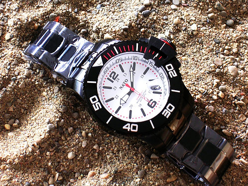 Stealth Series MIL-DIVER - White Dial Red Accents