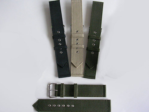 WWII 2pc Canvas Watchband Chrome Eyelets