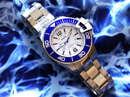 NATO MIL-DIVER - White Dial Blue Bezel