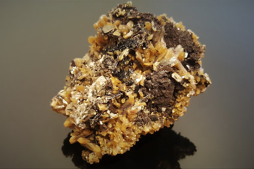 67mm Stilbite w/Hematite, Fluorite and Chalcopyrite from Malmberget, Sweden