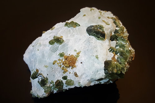 SOLD 92 mm Diopside and Grossular on Calcite