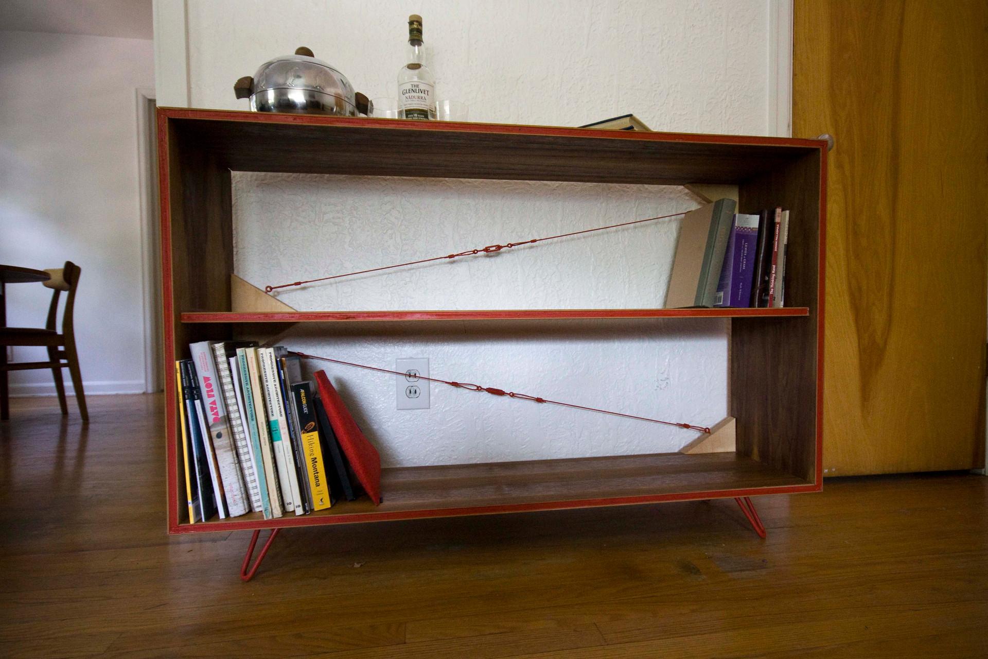 Red Accent Book Shelf