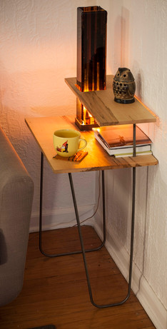 Maple and Glass End Table
