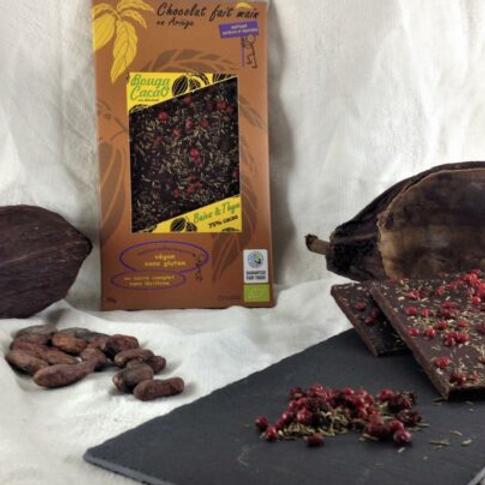 Tablette de chocolat bio 75% – Thym & baies roses