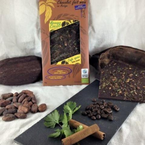 Tablette de chocolat bio 75% – Café, cannelle, coriandre