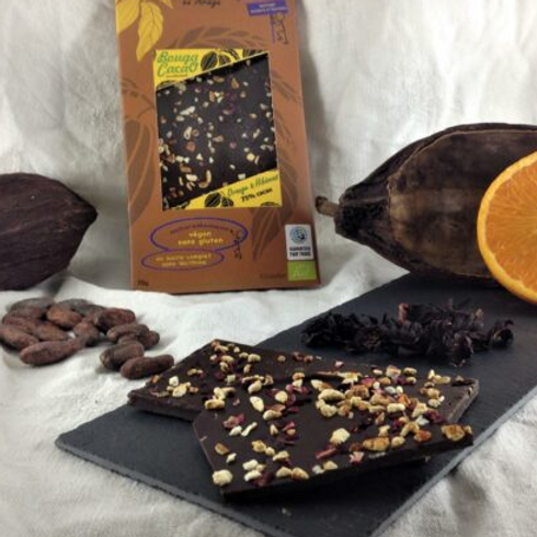 Tablette de chocolat bio 75% - Orange & hibiscus