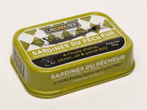 Sardines du pêcheur : huile d'olive, citron, ail, persil