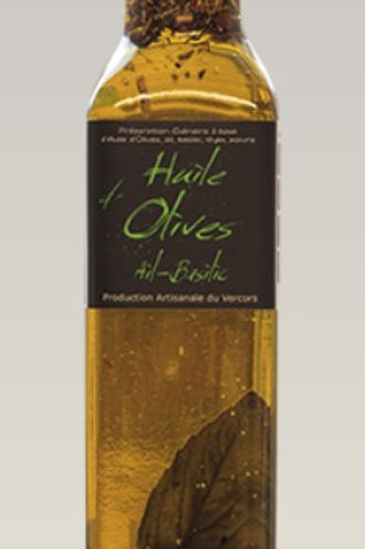 Huile d'olive ail-basilic Bio