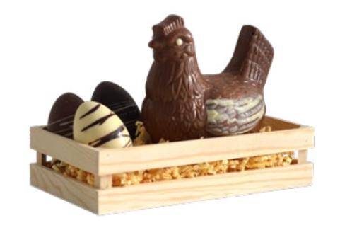 Poule au chocolat au lait Bio dans sa cagette