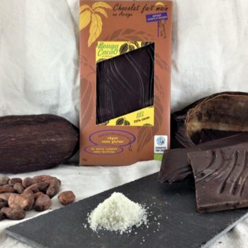 Tablette de chocolat bio 75% – Sel de mer