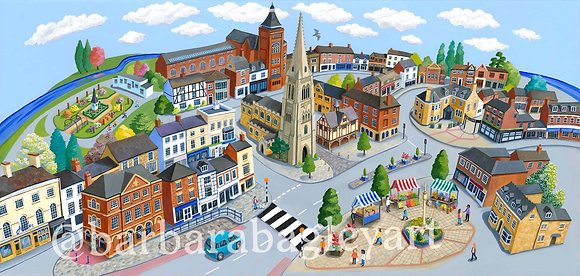 Market Harborough - townscape reproduction prints, large & small