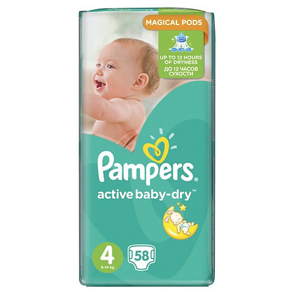 PAMPERS ACTIVE BABY ΜΕΓ 4 3x58 MAXI