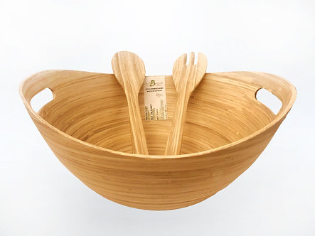 SPUN BAMBOO SALAD BOWL & SERVERS (Oval)