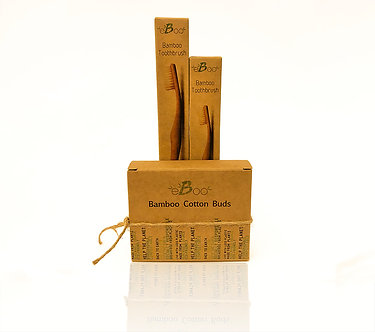 Bamboo Cotton Buds + Toothbrushes set