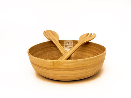 SPUN BAMBOO SALAD BOWL & SERVERS (Round)