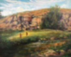 oil painting of little girls running thru grass by stream Lindy Cook Severns art