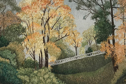 golden tree and bridge thread painting by Anne Eckley