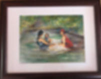 girls in vintage swimsuits watercolor framed Lindy C Severns art