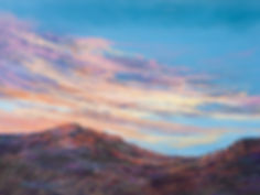 pastel sunset over red and violet desert mountain painting by Lindy Cook Severns art