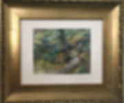 rock path in forest watercolor framed in gold Lindy Cook Severns art