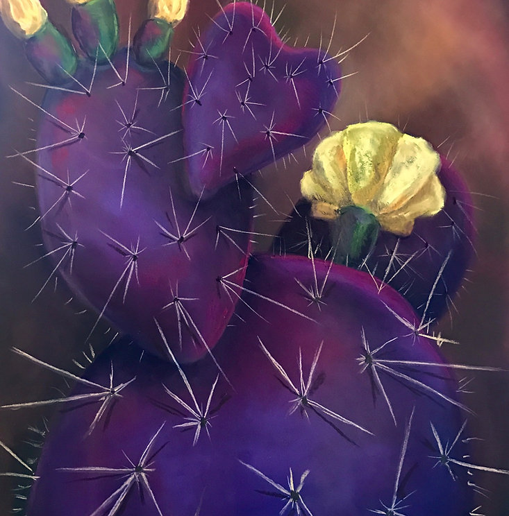 purple cactus yellow flowers pastel painting by ginger lemons