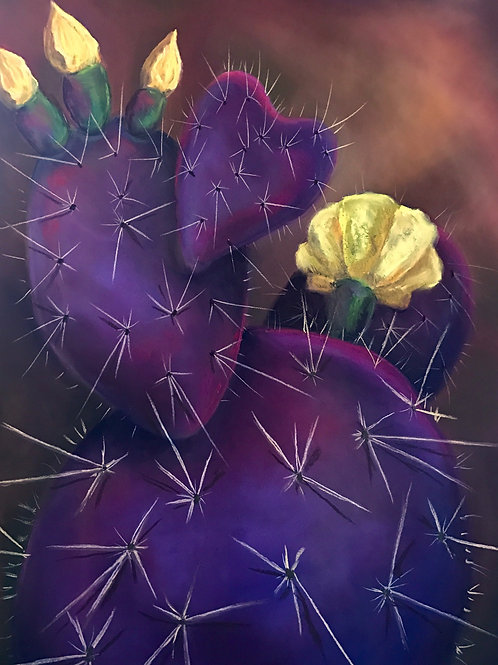purple prickly pear flowering yellow painting by Ginger Lemons