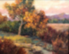 oil painting of fall color and creek by Anne Spier