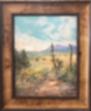 framed oil landscape of old fenceposts and summer ranchland by Lindy Cook Severns