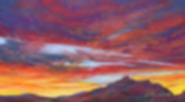 Red sunset over Terlingua desert skyscape original mini pastel painting by Big Bend Artist Lindy Cook Severns