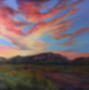 Vivid southwestern sunset on a mt ranch, original oil landscape painting by Texas artist Lindy Cook Severns