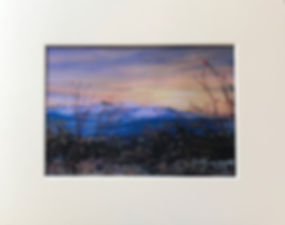 matted landscape painting enhanced print southwest sunrise violet and peach big bend np lindy cook severns art