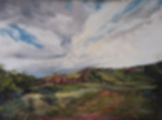 clouds build over green Texas mountain ranchland, a pastel landscape painting by Lindy Cook Severns art Fort Davis TX