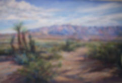 spanish daggers and cactus with desert mountains painting by Lindy Cook Severns