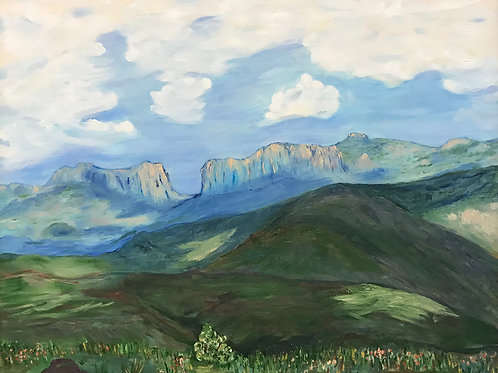 white clouds over green mountains oil painting by Roxa Robison