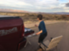 big bend artist lindy cook severns painting en plein air out of red pickup truck