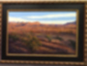 red and violet shadows in a Big Bend NP sunset 24x36-pastel-Lindy-Cook Severns framed