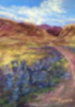 Big Bend bluebonnets line the River Road in Big Bend NP in this original miniature pastel painting by Lindy Cook Severns