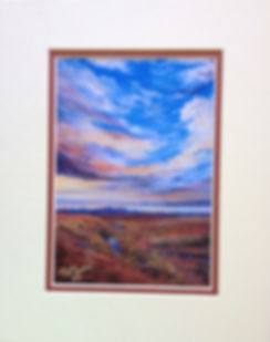 Matted print of a desert sunset skyscape by artist Lindy C Severns