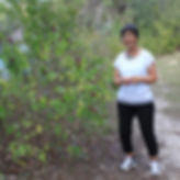 texas landscape painter lindy cook severns on path near texas river near marble falls