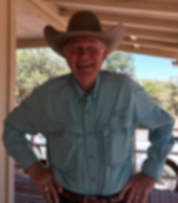 Jim Severns, artist assistant and chief Go-Fer outside Old Spanish Trail Studio in the Davis Mts of West Texas