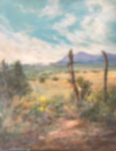 southwest ranchland fenceposts wildflowers and rain shower oil painting by Lindy Cook Severns