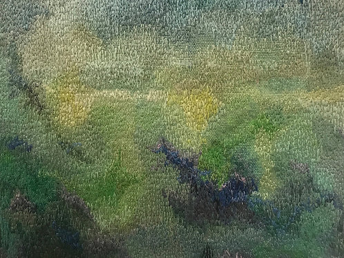 abstract in greens Rainy Afternoon thread painting by Anne Eckley