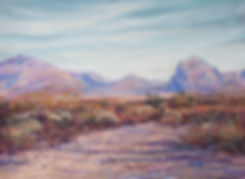 Desert colors of lilac, blue, rust and gold paint the Texas mountains in fall in this Lindy Cook Severns landscape painting