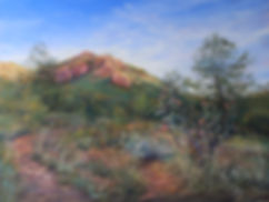 Red cliffs and pinon pine cactus landscape painting by Lindy Cook Severns art