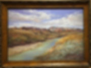 Snowy-Peaks-on-the-Rio-Grande-landscape painting Lindy-Cook Severns framed