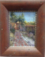 Adobe and snowy path pastel painting Divine Light by Lindy Cook Severns framed
