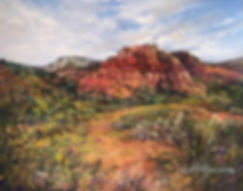 Red sandstone canyons above summer foliage color this small pastel landscape by Lindy Cook Severns