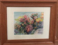 framed watercolor cactus painting